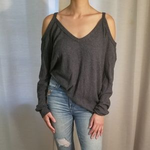 Urban Outfitters Gray Cold Shoulder Shirt